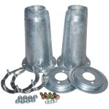 Front Shock Turrets with Fitting Kit - Galvanised - Defender, Discovery 1 & Range Rover Classic